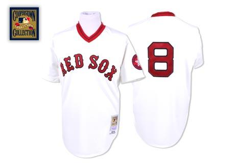 Men's Mitchell and Ness Boston Red Sox #8 Carl Yastrzemski Authentic White Throwback MLB Jersey