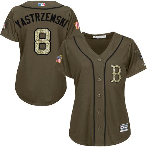 Women's Majestic Boston Red Sox #8 Carl Yastrzemski Authentic Green Salute to Service MLB Jersey