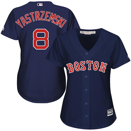 Women's Majestic Boston Red Sox #8 Carl Yastrzemski Replica Navy Blue Alternate Road MLB Jersey