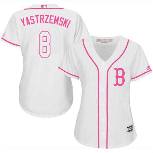Women's Majestic Boston Red Sox #8 Carl Yastrzemski Replica White Fashion MLB Jersey