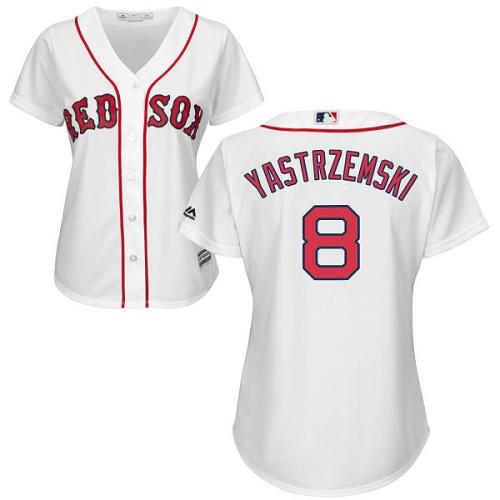 Women's Majestic Boston Red Sox #8 Carl Yastrzemski Replica White Home MLB Jersey