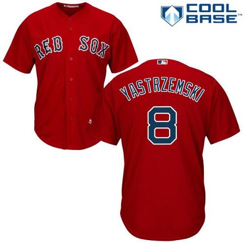 Youth Majestic Boston Red Sox #8 Carl Yastrzemski Authentic Red Alternate Home Cool Base MLB Jersey