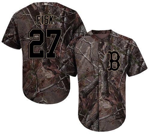 Men's Majestic Boston Red Sox #27 Carlton Fisk Authentic Camo Realtree Collection Flex Base MLB Jersey