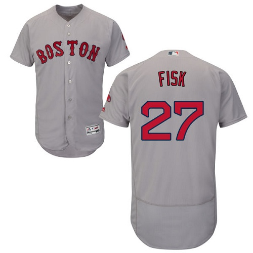 Men's Majestic Boston Red Sox #27 Carlton Fisk Grey Road Flex Base Authentic Collection MLB Jersey