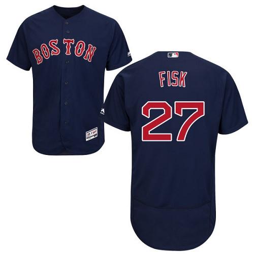 Men's Majestic Boston Red Sox #27 Carlton Fisk Navy Blue Alternate Flex Base Authentic Collection MLB Jersey
