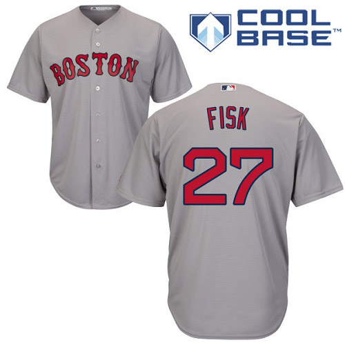 Men's Majestic Boston Red Sox #27 Carlton Fisk Replica Grey Road Cool Base MLB Jersey