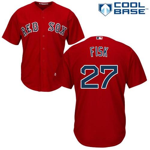 Men's Majestic Boston Red Sox #27 Carlton Fisk Replica Red Alternate Home Cool Base MLB Jersey