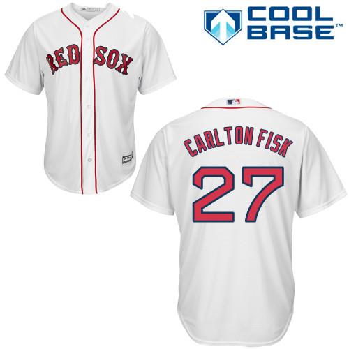 Men's Majestic Boston Red Sox #27 Carlton Fisk Replica White Home Cool Base MLB Jersey