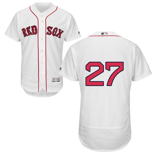 Men's Majestic Boston Red Sox #27 Carlton Fisk White Home Flex Base Authentic Collection MLB Jersey
