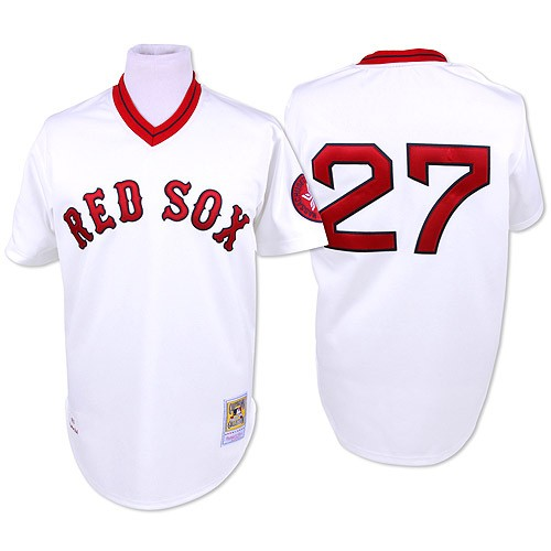 Men's Mitchell and Ness Boston Red Sox #27 Carlton Fisk Replica White Throwback MLB Jersey