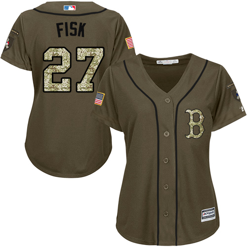 Women's Majestic Boston Red Sox #27 Carlton Fisk Authentic Green Salute to Service MLB Jersey
