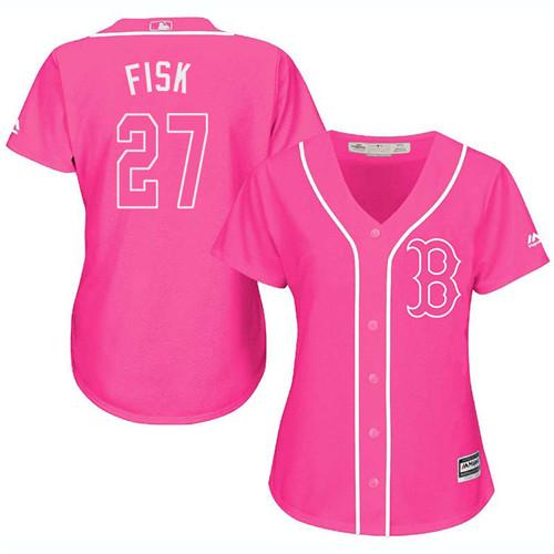 Women's Majestic Boston Red Sox #27 Carlton Fisk Authentic Pink Fashion MLB Jersey