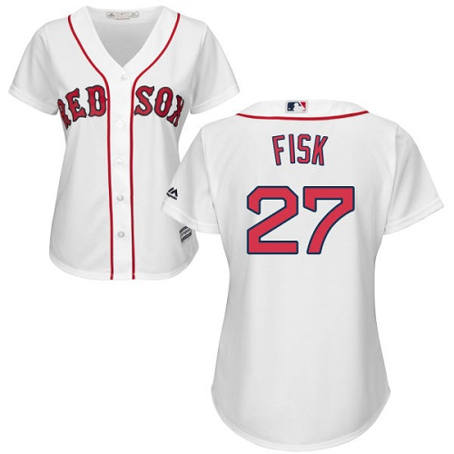 Women's Majestic Boston Red Sox #27 Carlton Fisk Authentic White Home MLB Jersey