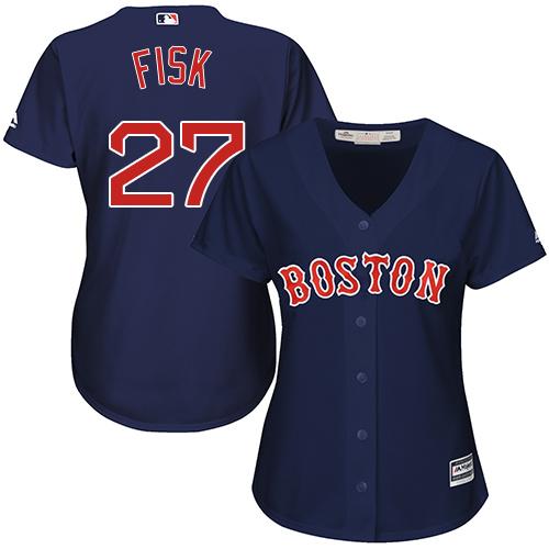 Women's Majestic Boston Red Sox #27 Carlton Fisk Replica Navy Blue Alternate Road MLB Jersey
