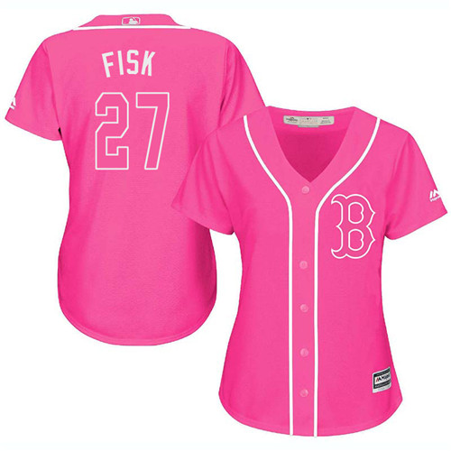 Women's Majestic Boston Red Sox #27 Carlton Fisk Replica Pink Fashion MLB Jersey