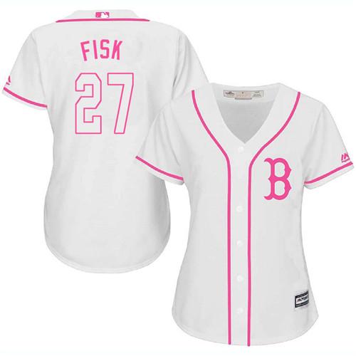 Women's Majestic Boston Red Sox #27 Carlton Fisk Replica White Fashion MLB Jersey