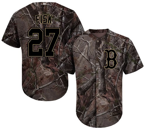 Youth Majestic Boston Red Sox #27 Carlton Fisk Authentic Camo Realtree Collection Flex Base MLB Jersey