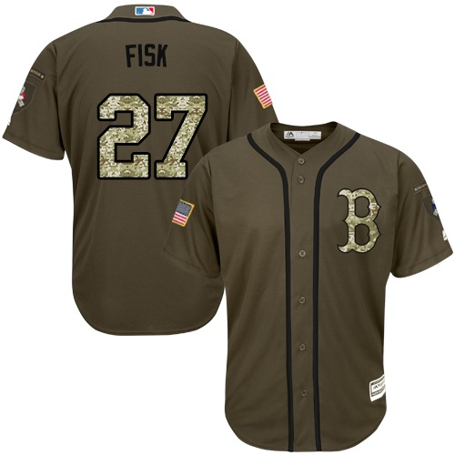 Youth Majestic Boston Red Sox #27 Carlton Fisk Authentic Green Salute to Service MLB Jersey