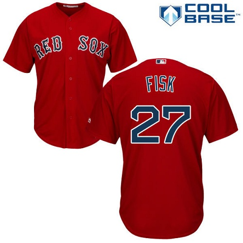 Youth Majestic Boston Red Sox #27 Carlton Fisk Authentic Red Alternate Home Cool Base MLB Jersey