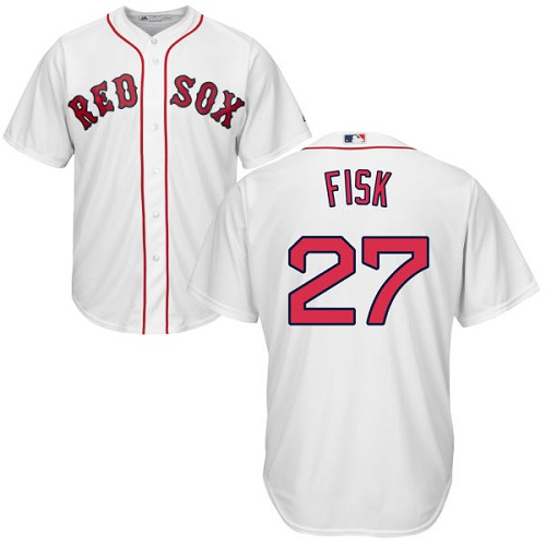 Youth Majestic Boston Red Sox #27 Carlton Fisk Replica White Home Cool Base MLB Jersey