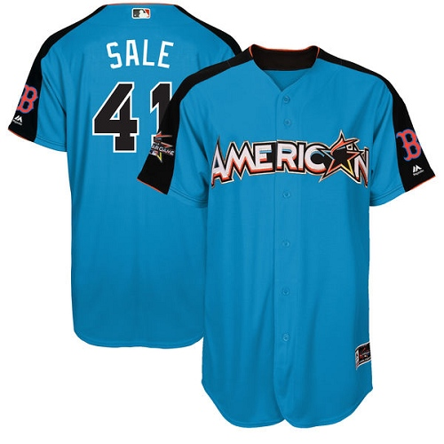 Men's Majestic Boston Red Sox #41 Chris Sale Authentic Blue American League 2017 MLB All-Star MLB Jersey
