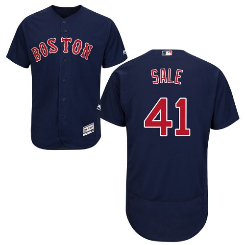 Men's Majestic Boston Red Sox #41 Chris Sale Navy Blue Flexbase Authentic Collection MLB Jersey