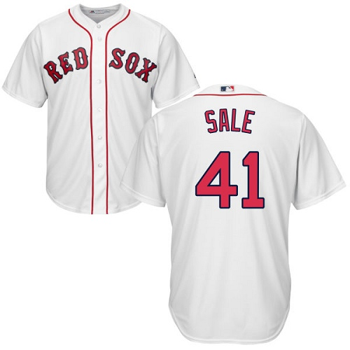 Men's Majestic Boston Red Sox #41 Chris Sale Replica White Home Cool Base MLB Jersey