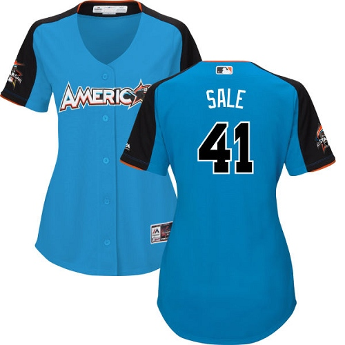 Women's Majestic Boston Red Sox #41 Chris Sale Authentic Blue American League 2017 MLB All-Star MLB Jersey