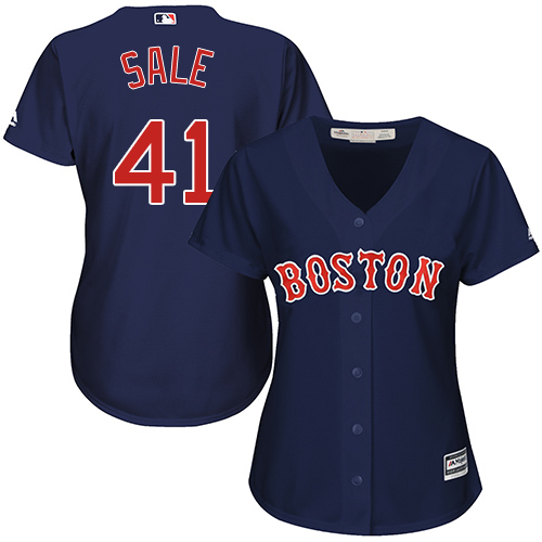 Women's Majestic Boston Red Sox #41 Chris Sale Authentic Navy Blue Alternate Road MLB Jersey