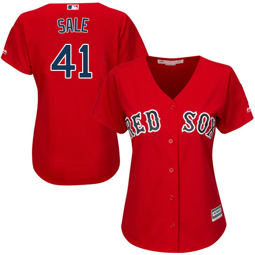 Women's Majestic Boston Red Sox #41 Chris Sale Replica Red Alternate Home MLB Jersey