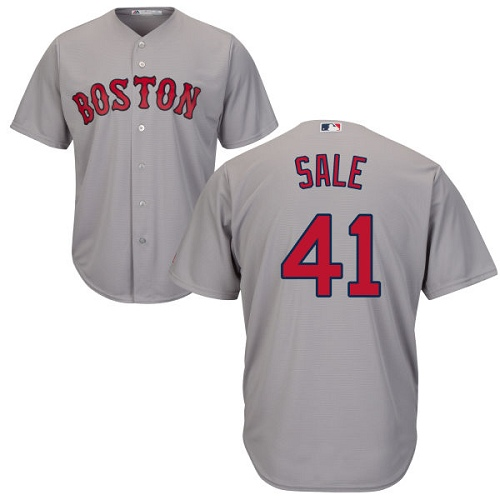 Youth Majestic Boston Red Sox #41 Chris Sale Replica Grey Road Cool Base MLB Jersey