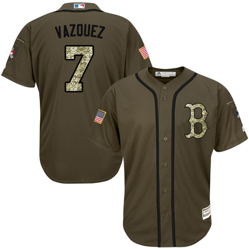 Men's Majestic Boston Red Sox #7 Christian Vazquez Authentic Green Salute to Service MLB Jersey