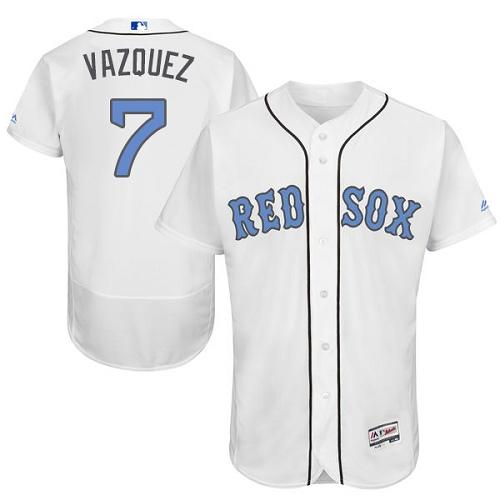 Men's Majestic Boston Red Sox #7 Christian Vazquez Authentic White 2016 Father's Day Fashion Flex Base MLB Jersey