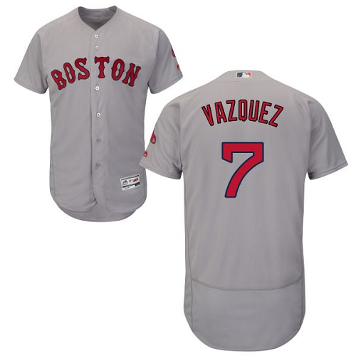 Men's Majestic Boston Red Sox #7 Christian Vazquez Grey Road Flex Base Authentic Collection MLB Jersey