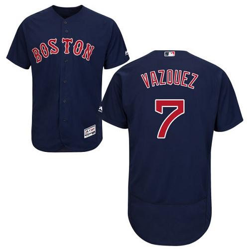 Men's Majestic Boston Red Sox #7 Christian Vazquez Navy Blue Alternate Flex Base Authentic Collection MLB Jersey