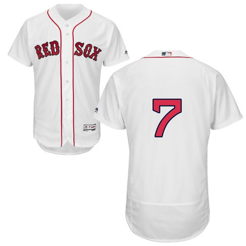 Men's Majestic Boston Red Sox #7 Christian Vazquez White Home Flex Base Authentic Collection MLB Jersey