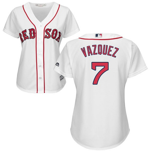 Women's Majestic Boston Red Sox #7 Christian Vazquez Replica White Home MLB Jersey