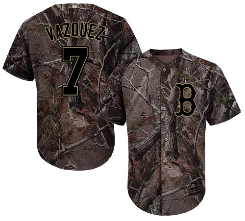 Youth Majestic Boston Red Sox #7 Christian Vazquez Authentic Camo Realtree Collection Flex Base MLB Jersey