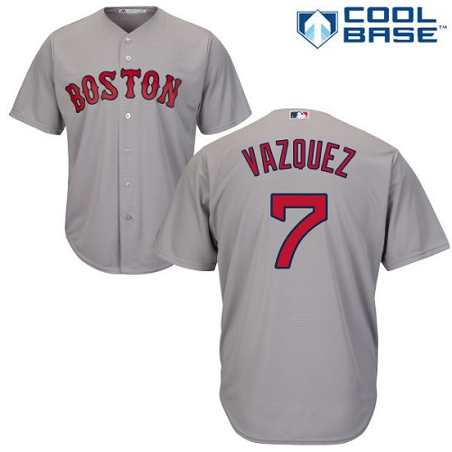 Youth Majestic Boston Red Sox #7 Christian Vazquez Authentic Grey Road Cool Base MLB Jersey