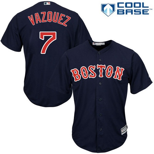 Youth Majestic Boston Red Sox #7 Christian Vazquez Authentic Navy Blue Alternate Road Cool Base MLB Jersey