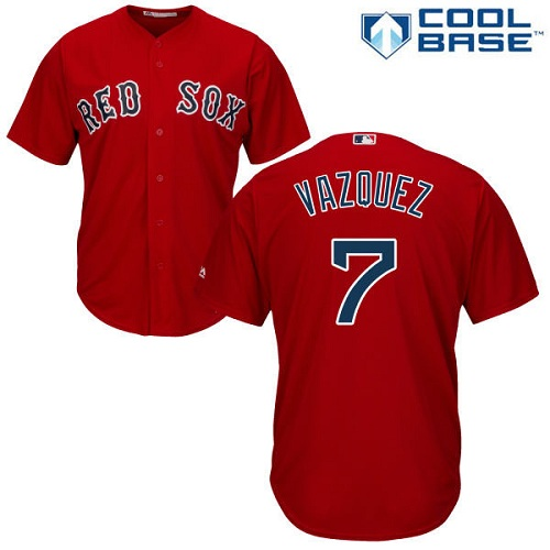 Youth Majestic Boston Red Sox #7 Christian Vazquez Authentic Red Alternate Home Cool Base MLB Jersey
