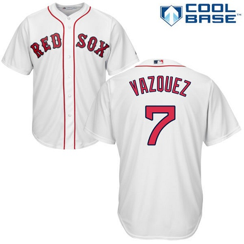 Youth Majestic Boston Red Sox #7 Christian Vazquez Replica White Home Cool Base MLB Jersey