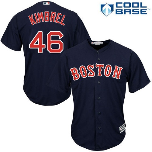 Men's Majestic Boston Red Sox #46 Craig Kimbrel Replica Navy Blue Alternate Road Cool Base MLB Jersey