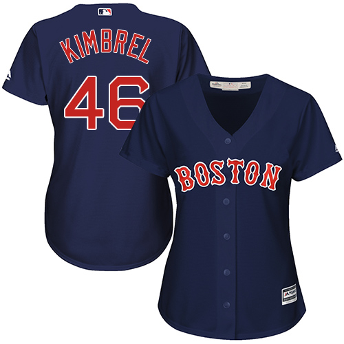 Women's Majestic Boston Red Sox #46 Craig Kimbrel Authentic Navy Blue Alternate Road MLB Jersey