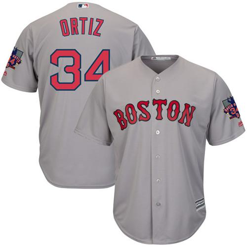 Men's Majestic Boston Red Sox #34 David Ortiz Authentic Grey Road Retirement Patch Cool Base MLB Jersey