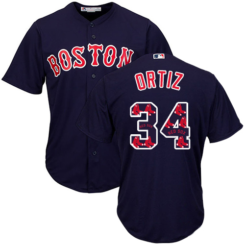 Men's Majestic Boston Red Sox #34 David Ortiz Authentic Navy Blue Team Logo Fashion Cool Base MLB Jersey
