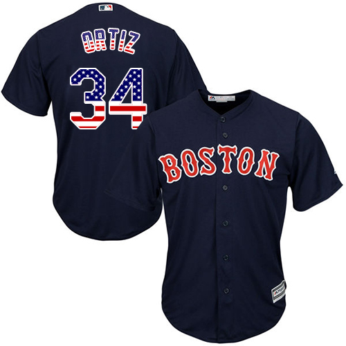 Men's Majestic Boston Red Sox #34 David Ortiz Authentic Navy Blue USA Flag Fashion MLB Jersey