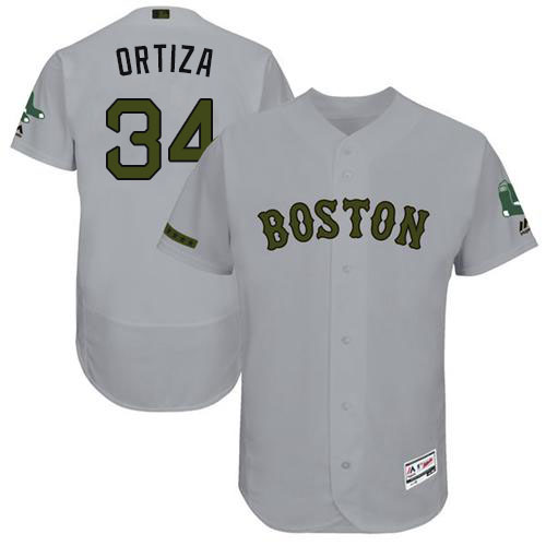 Men's Majestic Boston Red Sox #34 David Ortiz Grey Flexbase Authentic Collection MLB Jersey