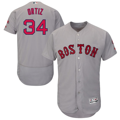 Men's Majestic Boston Red Sox #34 David Ortiz Grey Road Flex Base Authentic Collection MLB Jersey