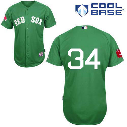 Men's Majestic Boston Red Sox #34 David Ortiz Replica Green Cool Base MLB Jersey